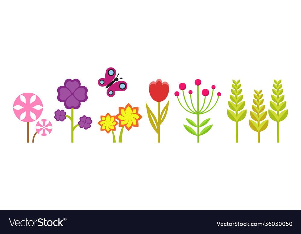 Spring garden cute bright flowers meadow plants