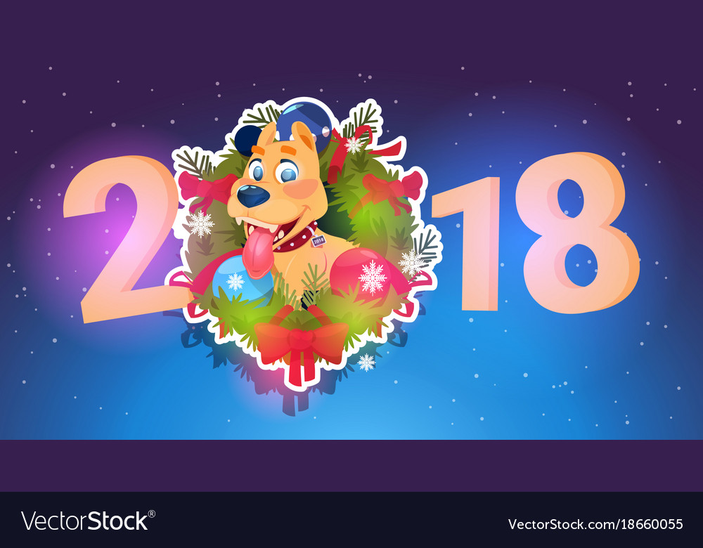 2018 new year banner dog in fir garland holiday vector image