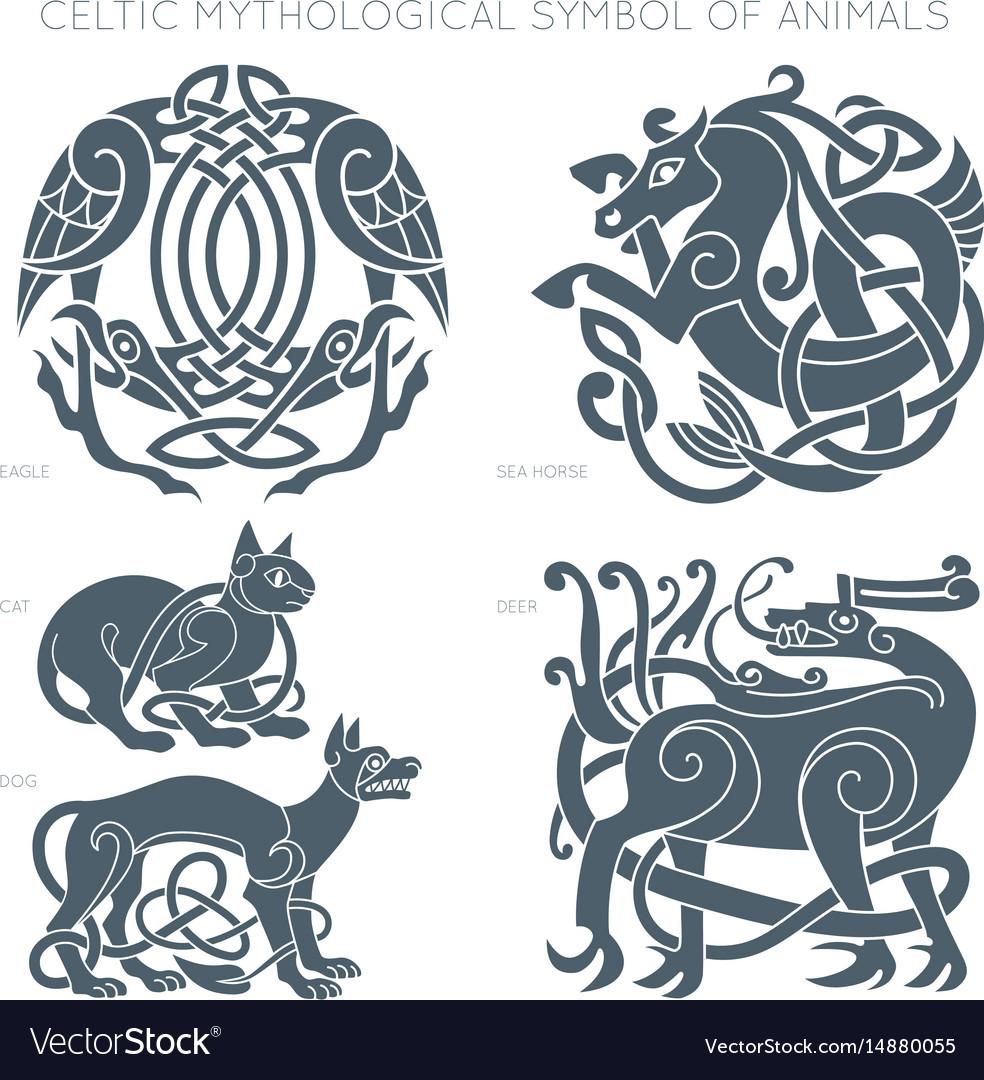 Ancient celtic mythological symbol of animals vector image