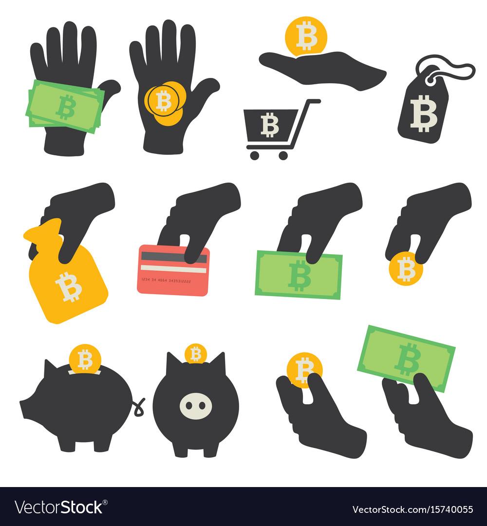 Bitcoin symbols icons set