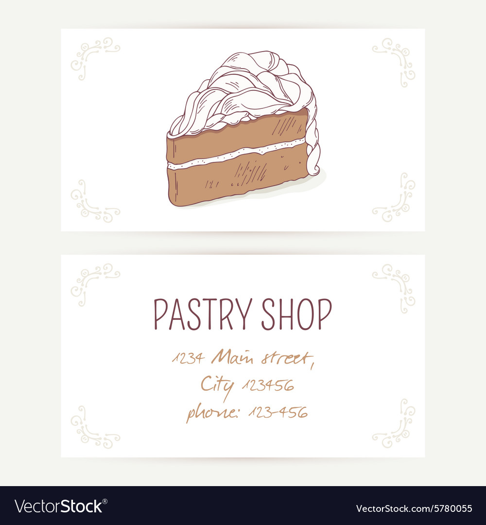 Business card template with chocolate cake vector image cheaphphosting Choice Image