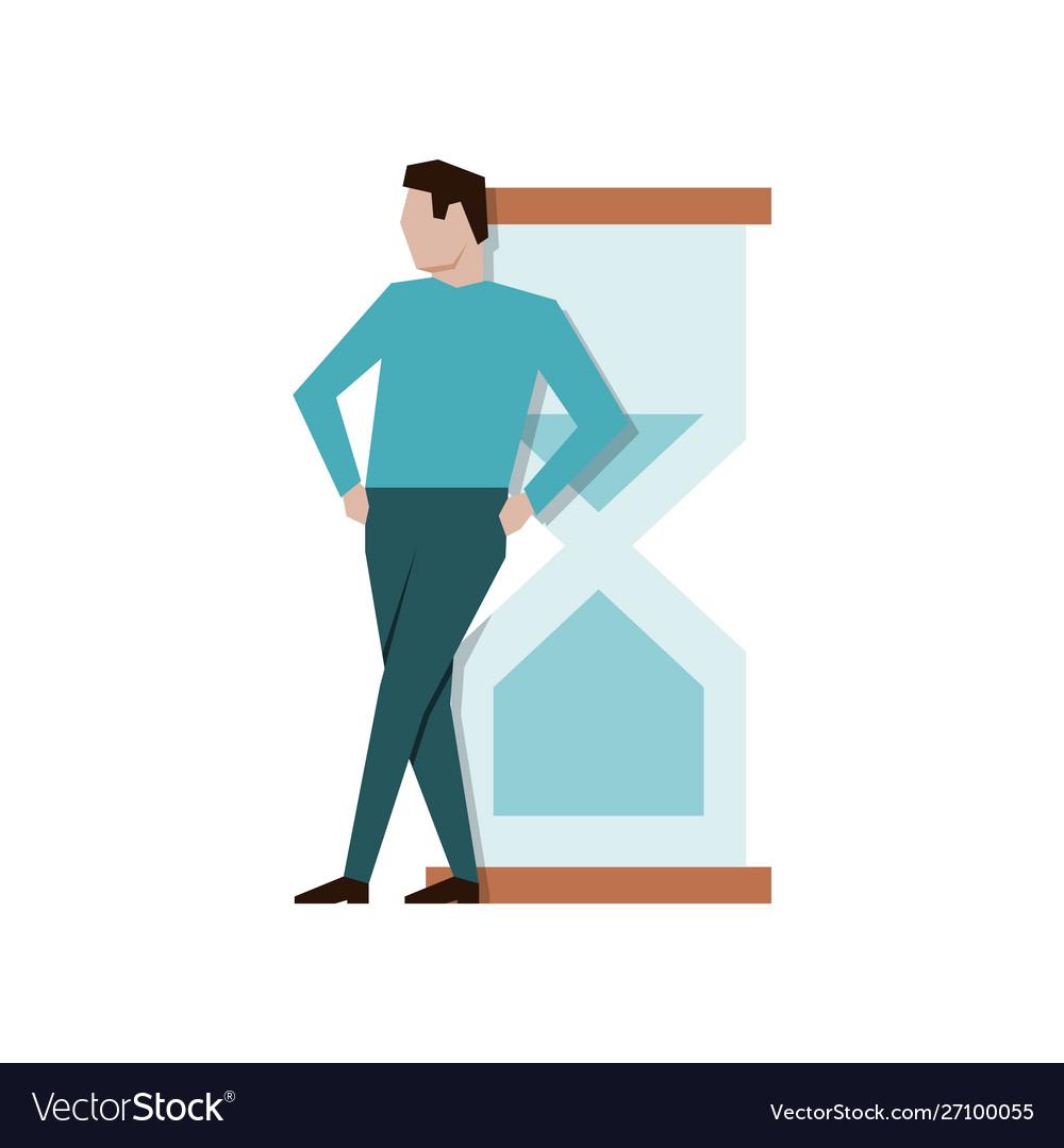 Businessman leaned on a big hourglass break time