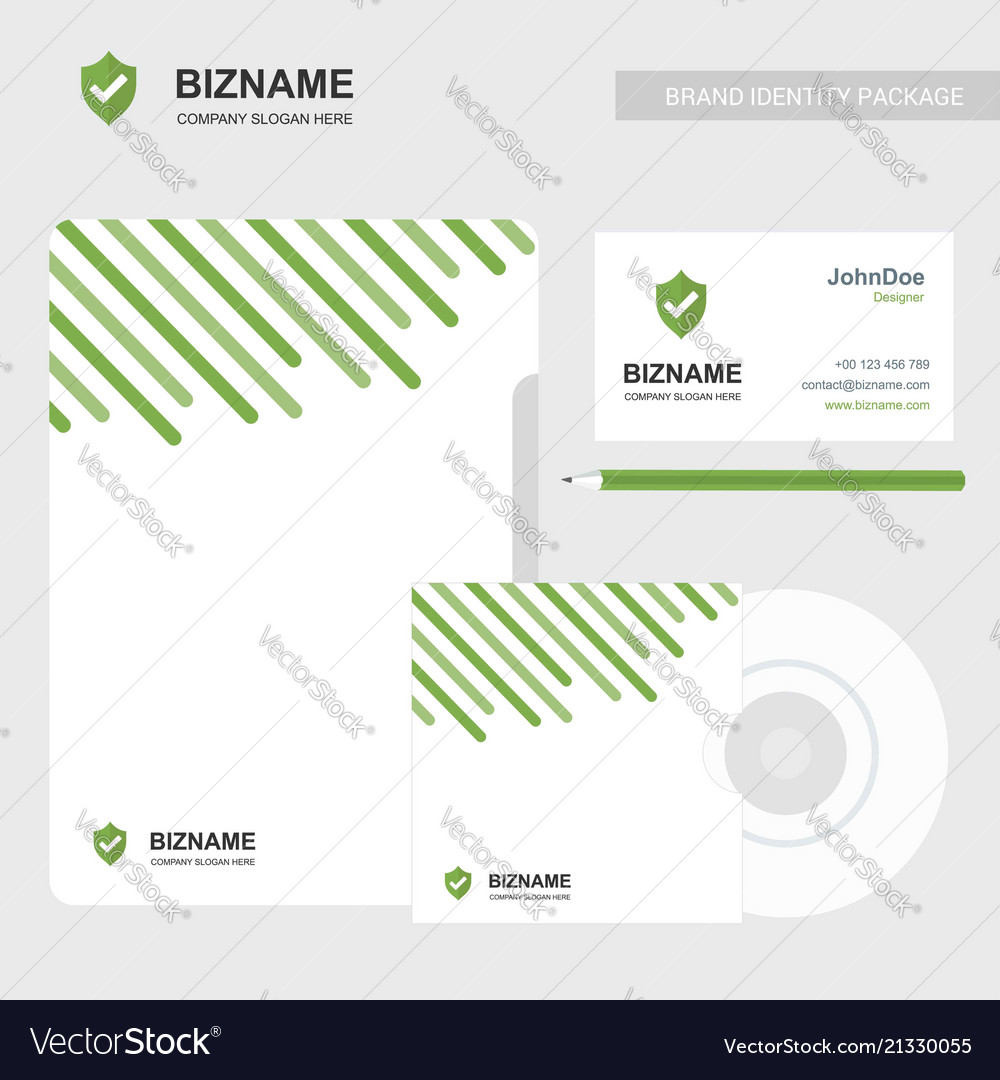Company business card with brochure and green