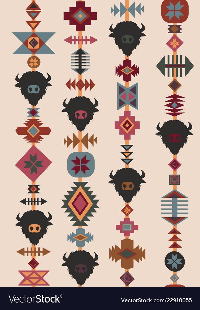 Ethnic tribal seamless pattern bull skull