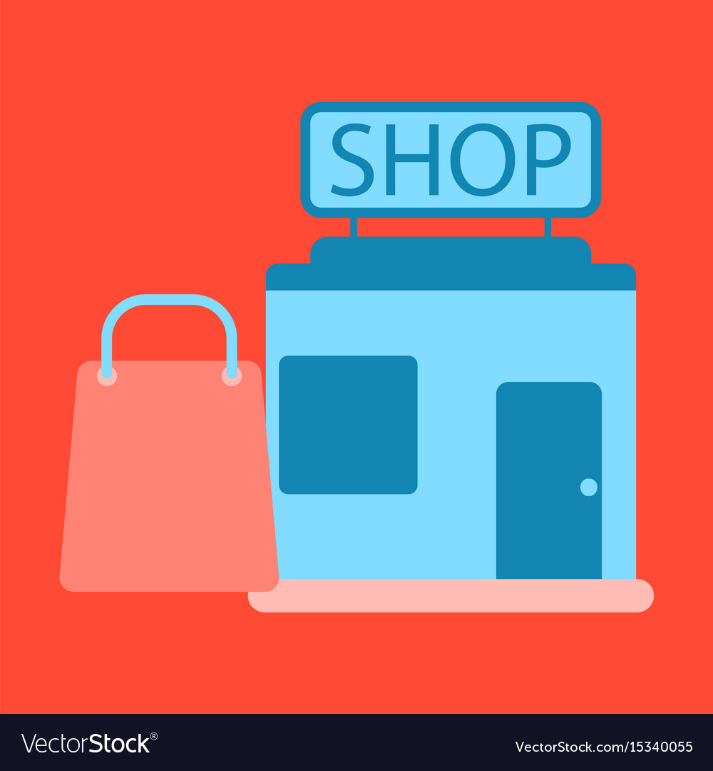 Flat icon shop package
