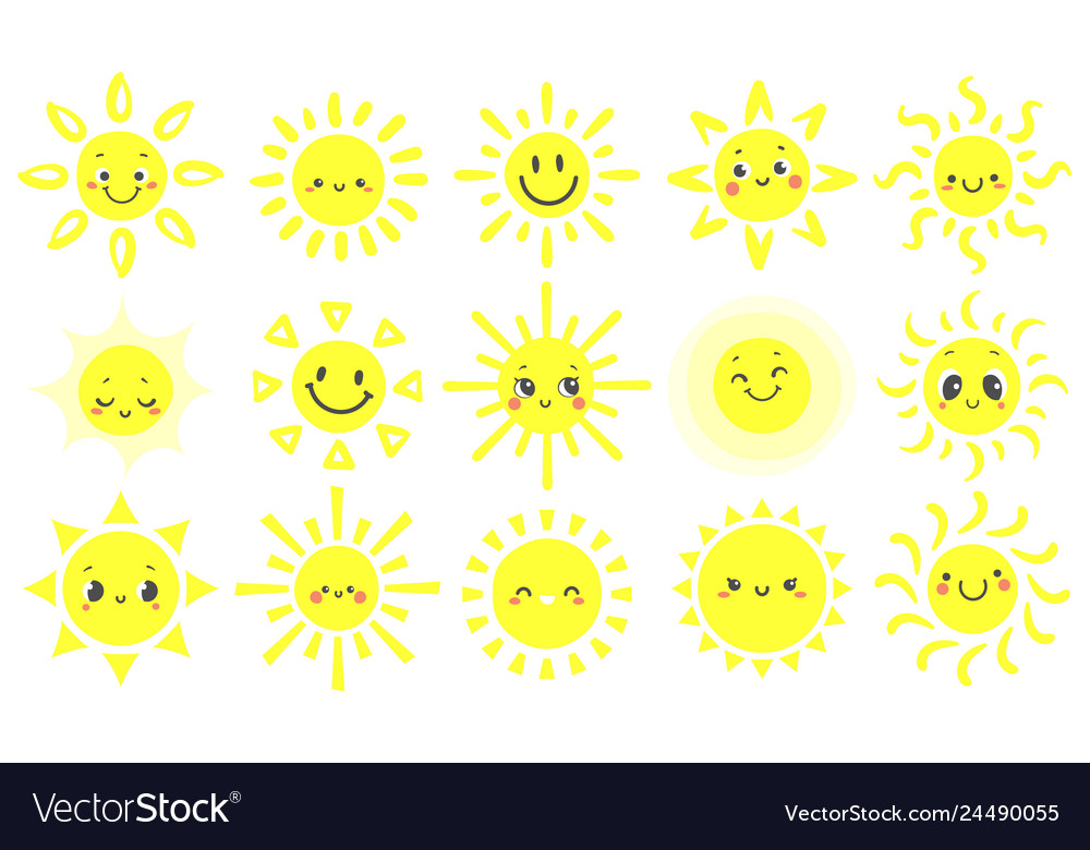 Hand drawn sun cute bright suns with funny