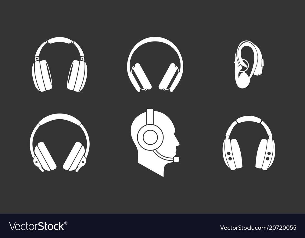 Headphones icon set grey vector image