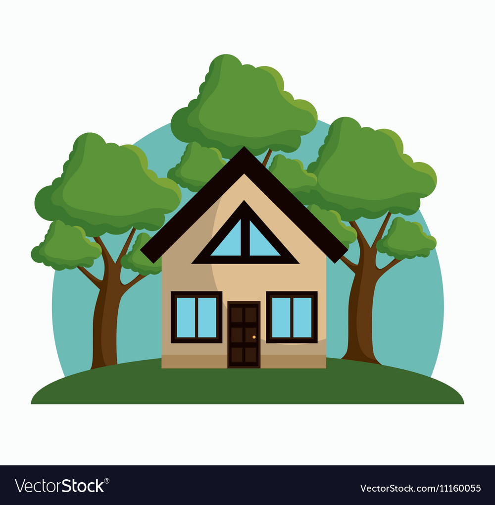 House with trees ecology icon design