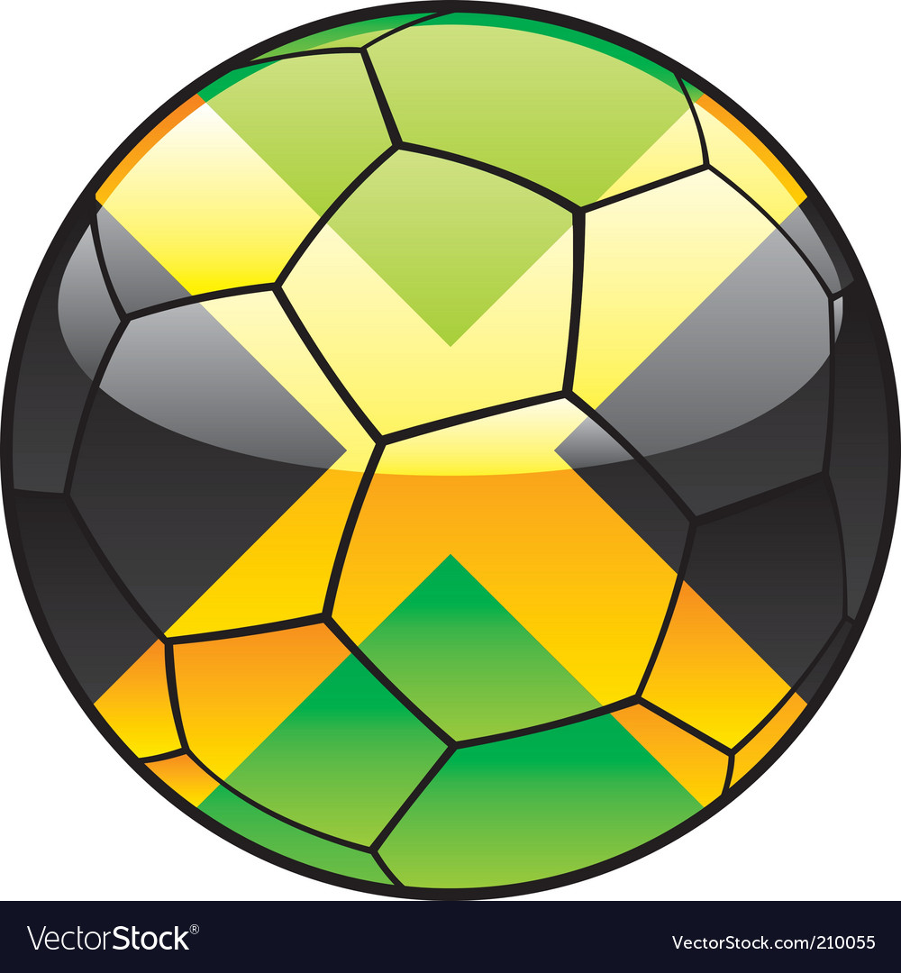 Jamaica flag on soccer ball vector image