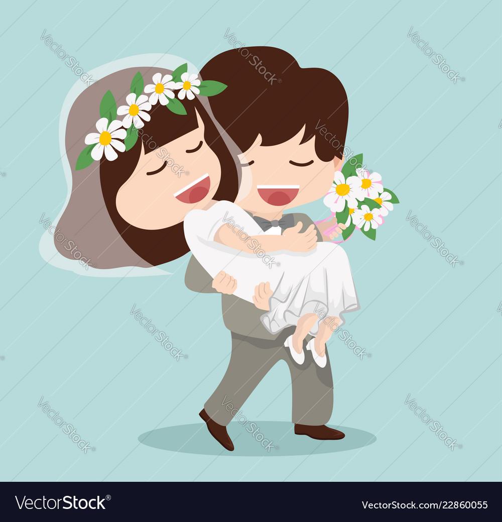 Man hold women on hand couple wedding