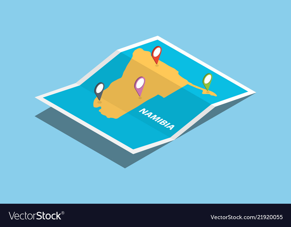 Namibia africa explore maps with isometric style Vector Image