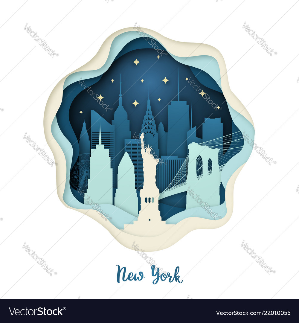 Paper art of new york origami concept