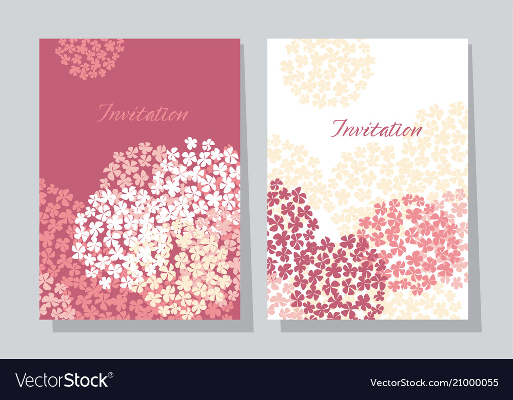 Rose hydrangea round bouquet card template vector image