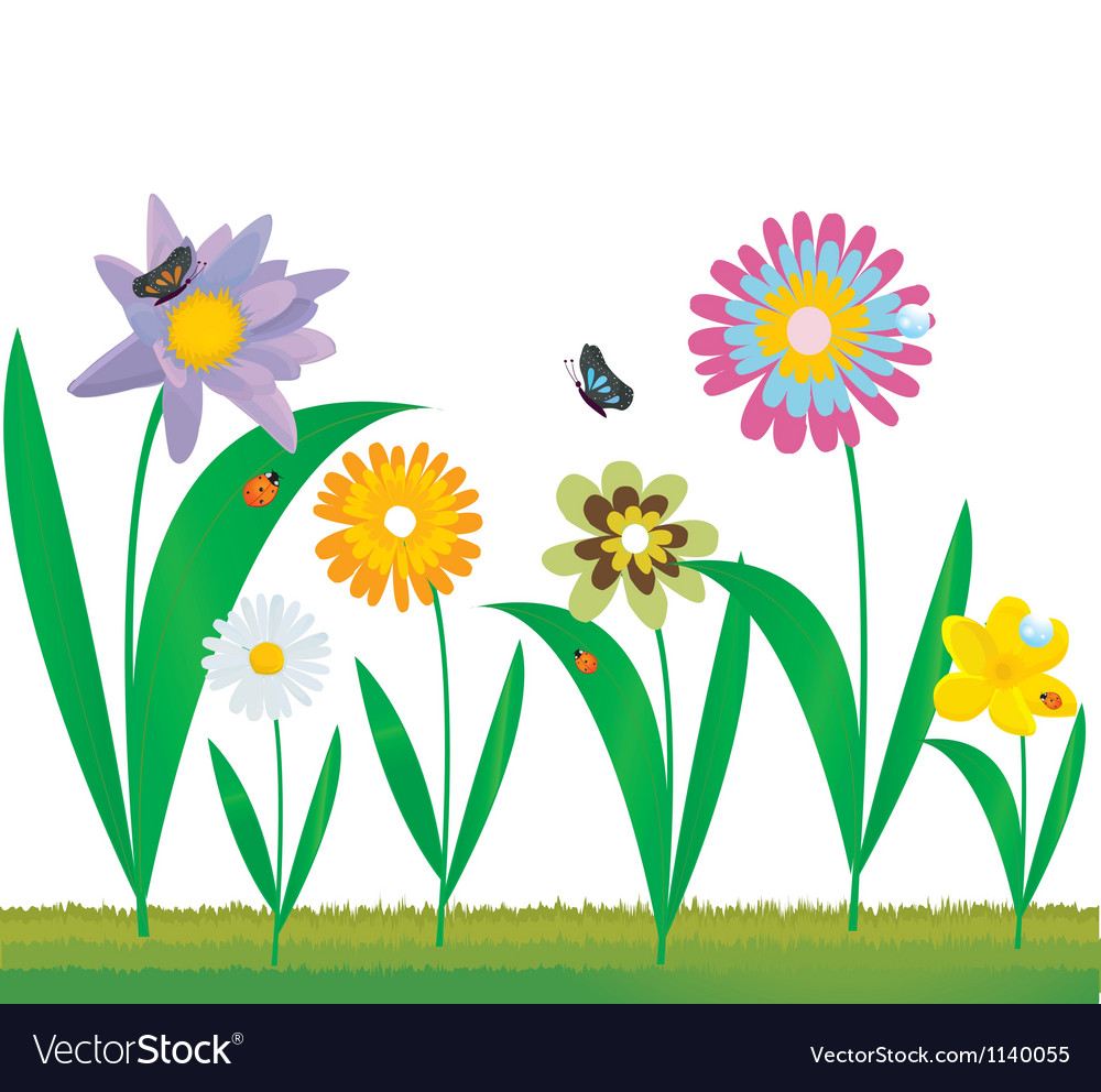 Set Of Cartoon Flowers Royalty Free Vector Image