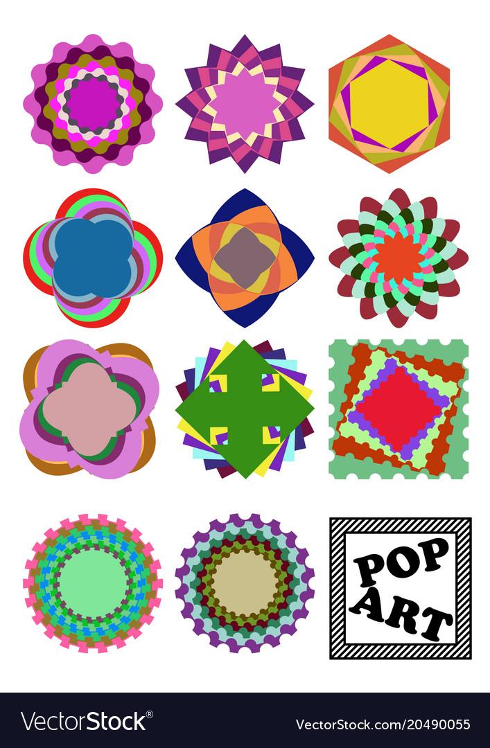 Set of variegated design shapes in pop art style