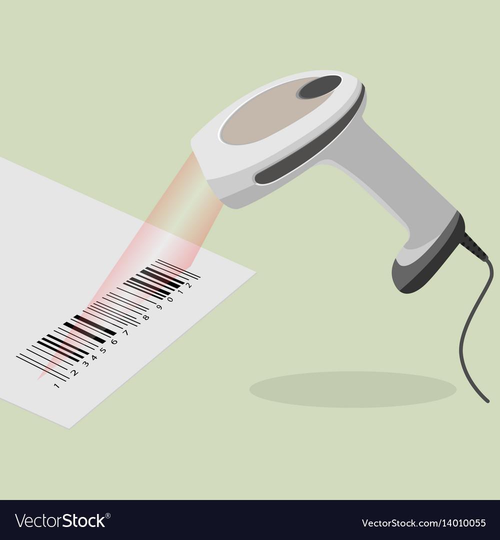 White handheld barcode scanner scanning bar code