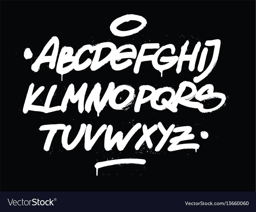 Brush hand style font alphabet