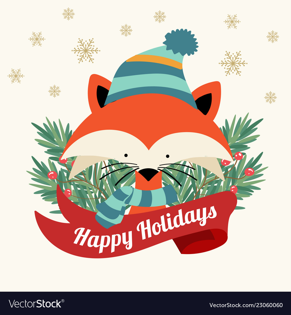 Christmas card with tree braches and little fox