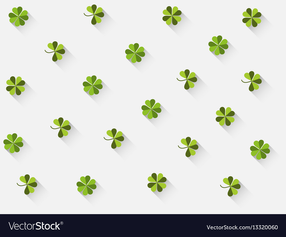 Clover with a long shadow in the flat style vector image