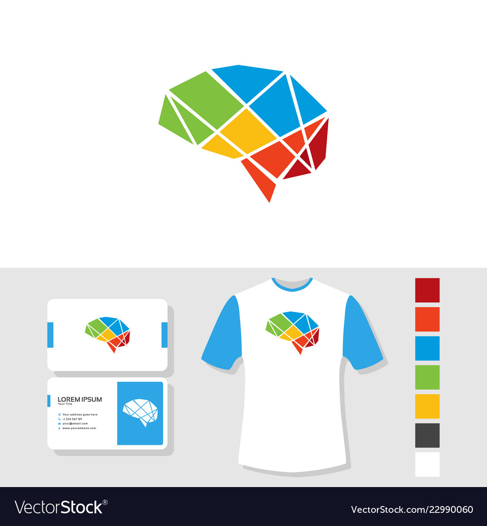 Colorful brain logo design with business card and