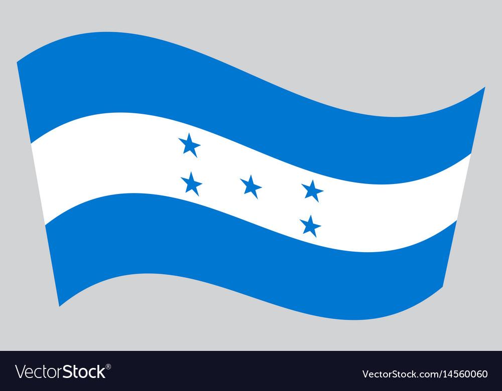 Flag of honduras waving on gray background vector image