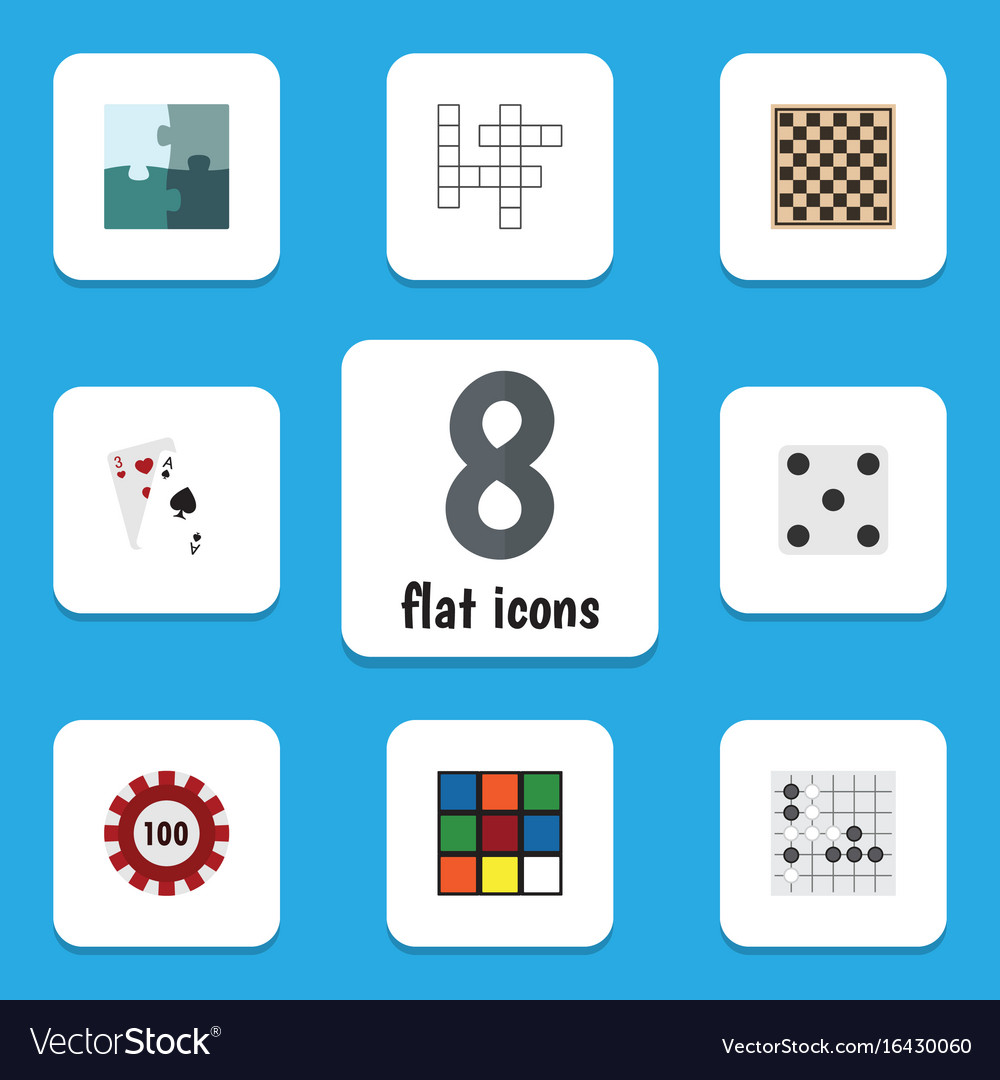 Flat icon games set of poker backgammon chess vector image