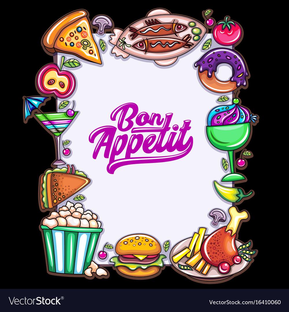 food design template vertical frame for menu vector image