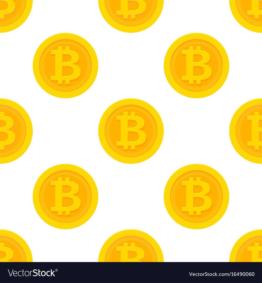 Golden bitcoin seamless pattern