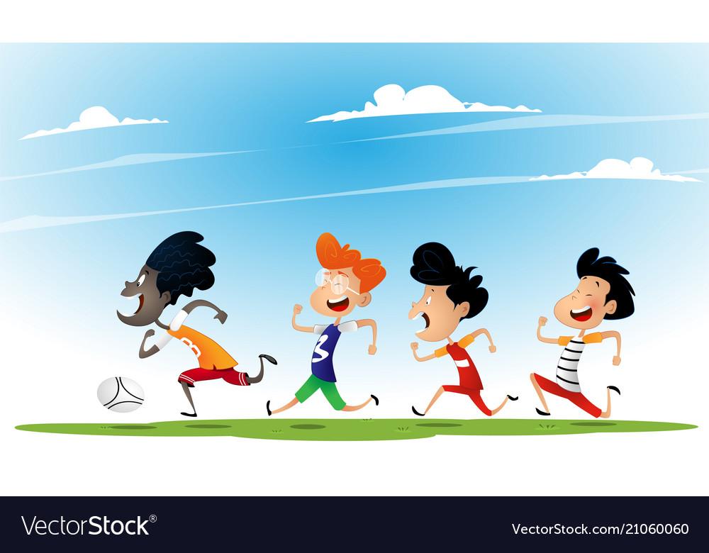 Group of multiracial kids play football