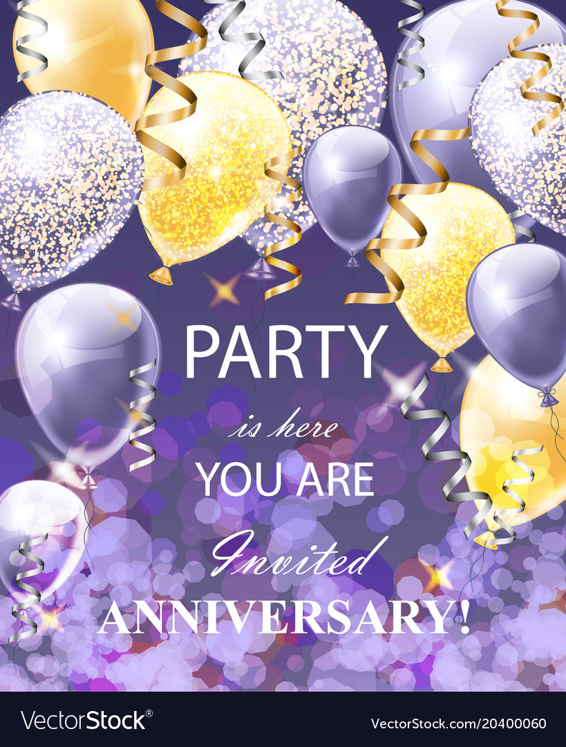 Happy anniversary card with balloons festive vector image