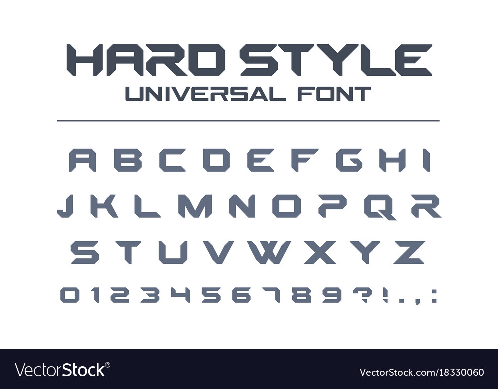 Hard style universal font military army sport