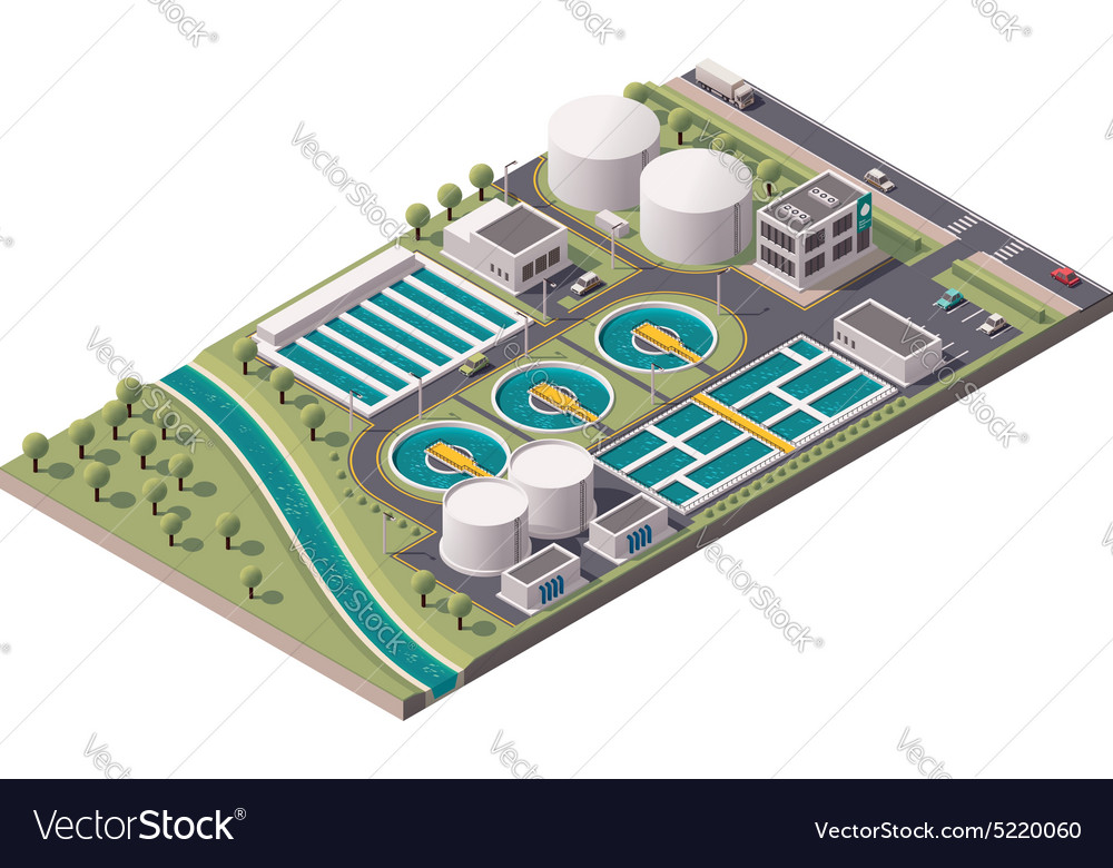 Isometric water treatment plant vector image