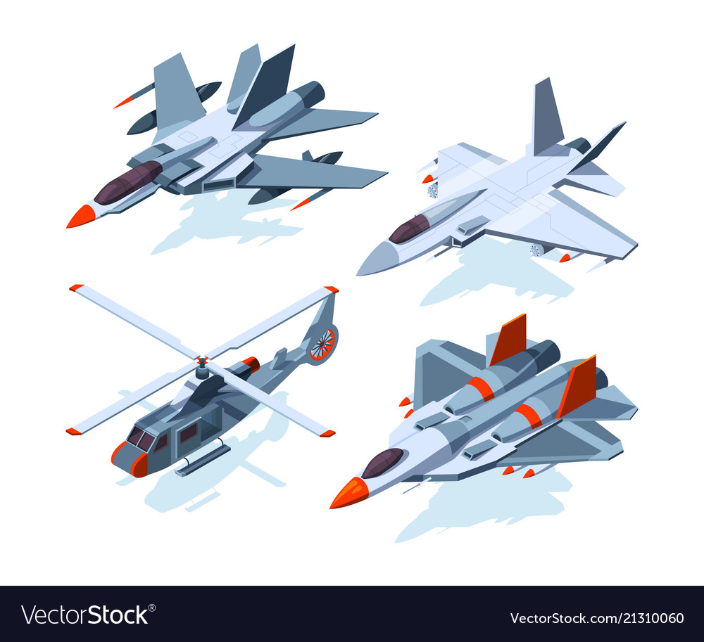 Military aircrafts isometric 3d airplanes isolate