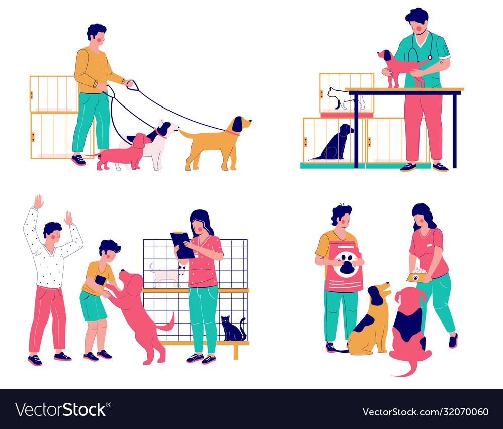 Pet care set flat isolated