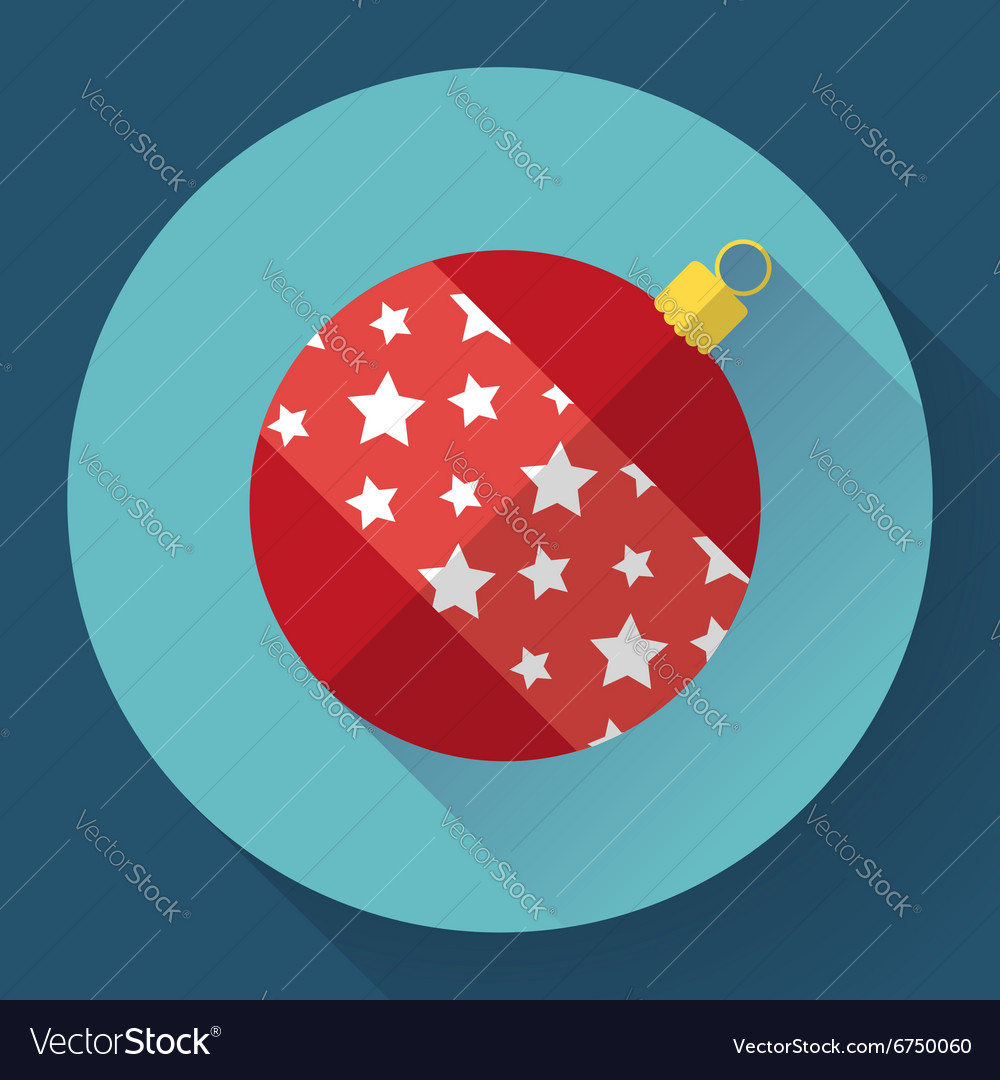 Red christmas ball decoration icon Flat designed