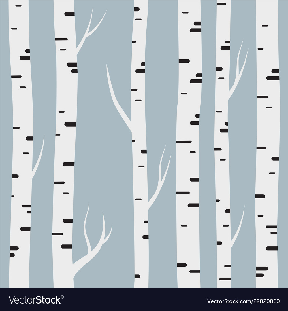 Seamless pattern with birch trees design element