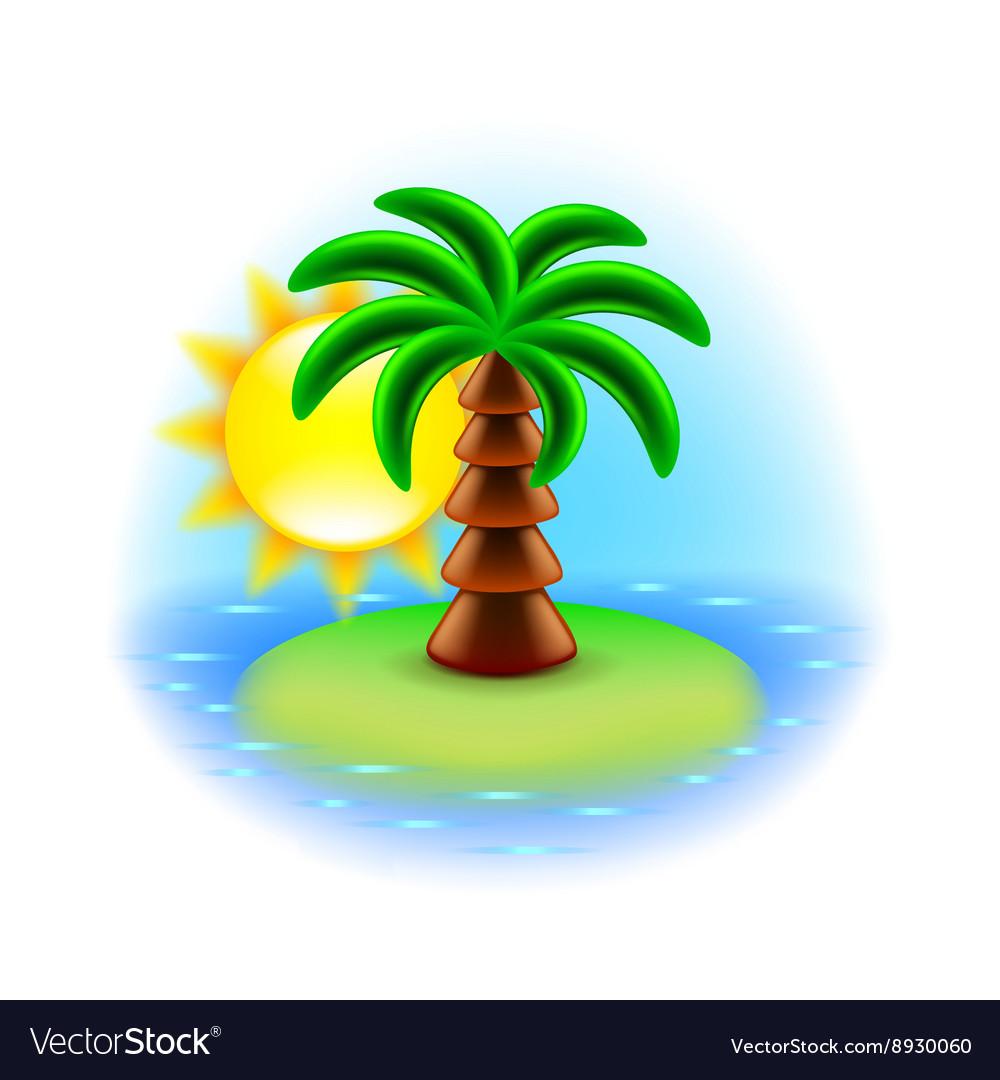 Sunny island icon isolated on white