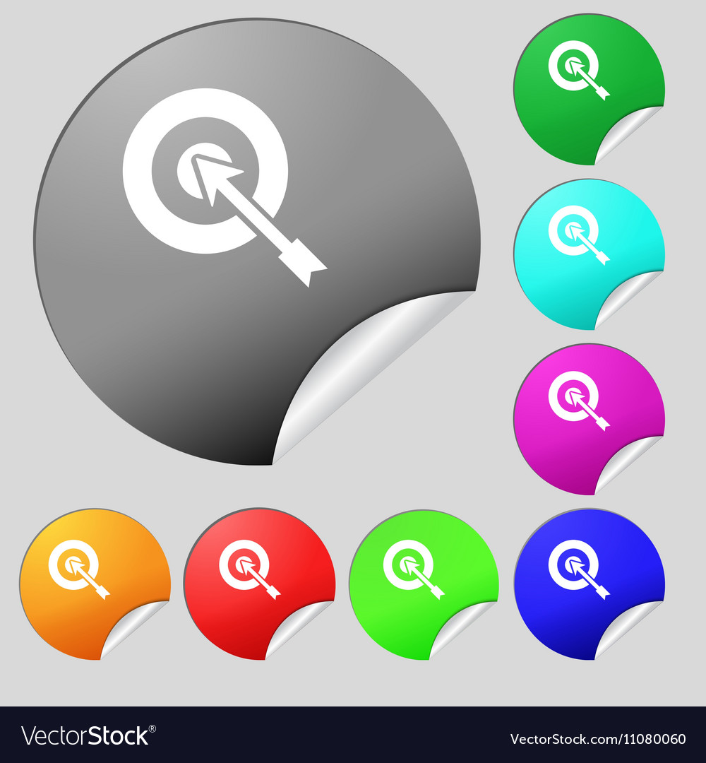 Target icon sign Set of eight multi colored round
