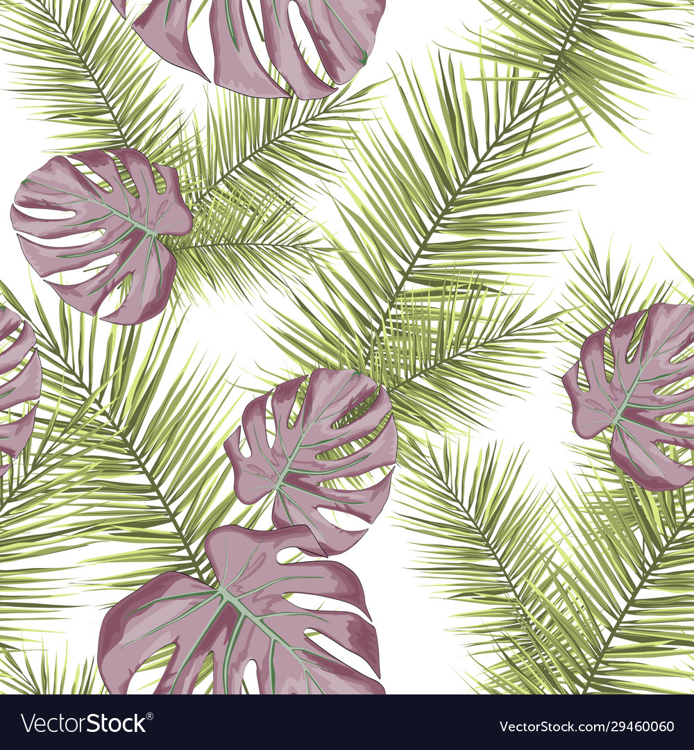 Tropical seamless pattern with leaves