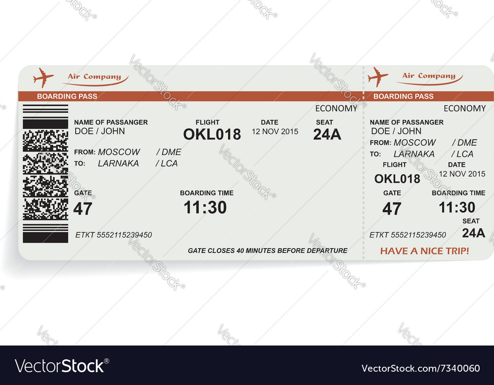 Variant of airline boarding pass ticket