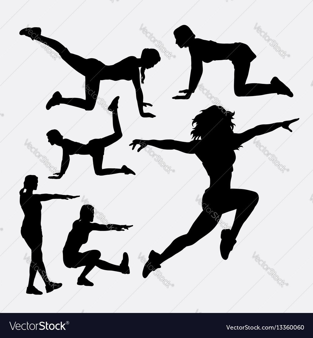 Woman training sport silhouette