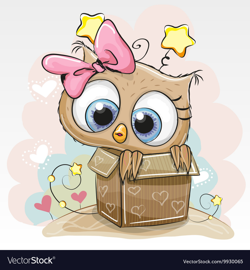 Image of: Owl Cafe Birthday Card With Cute Owl Vector Image Vectorstock Birthday Card With Cute Owl Royalty Free Vector Image
