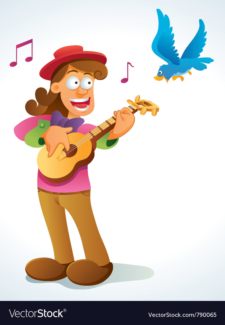 Classic guitar player vector image