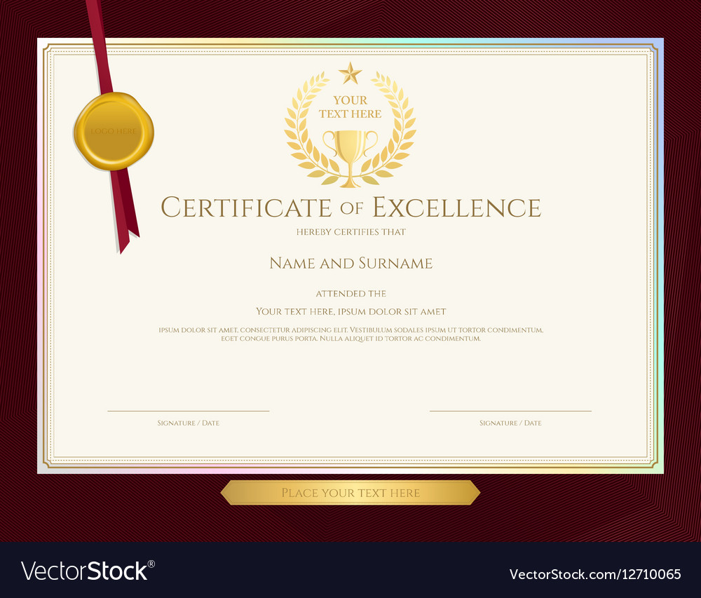 Elegant certificate template for excellence vector image yadclub Gallery