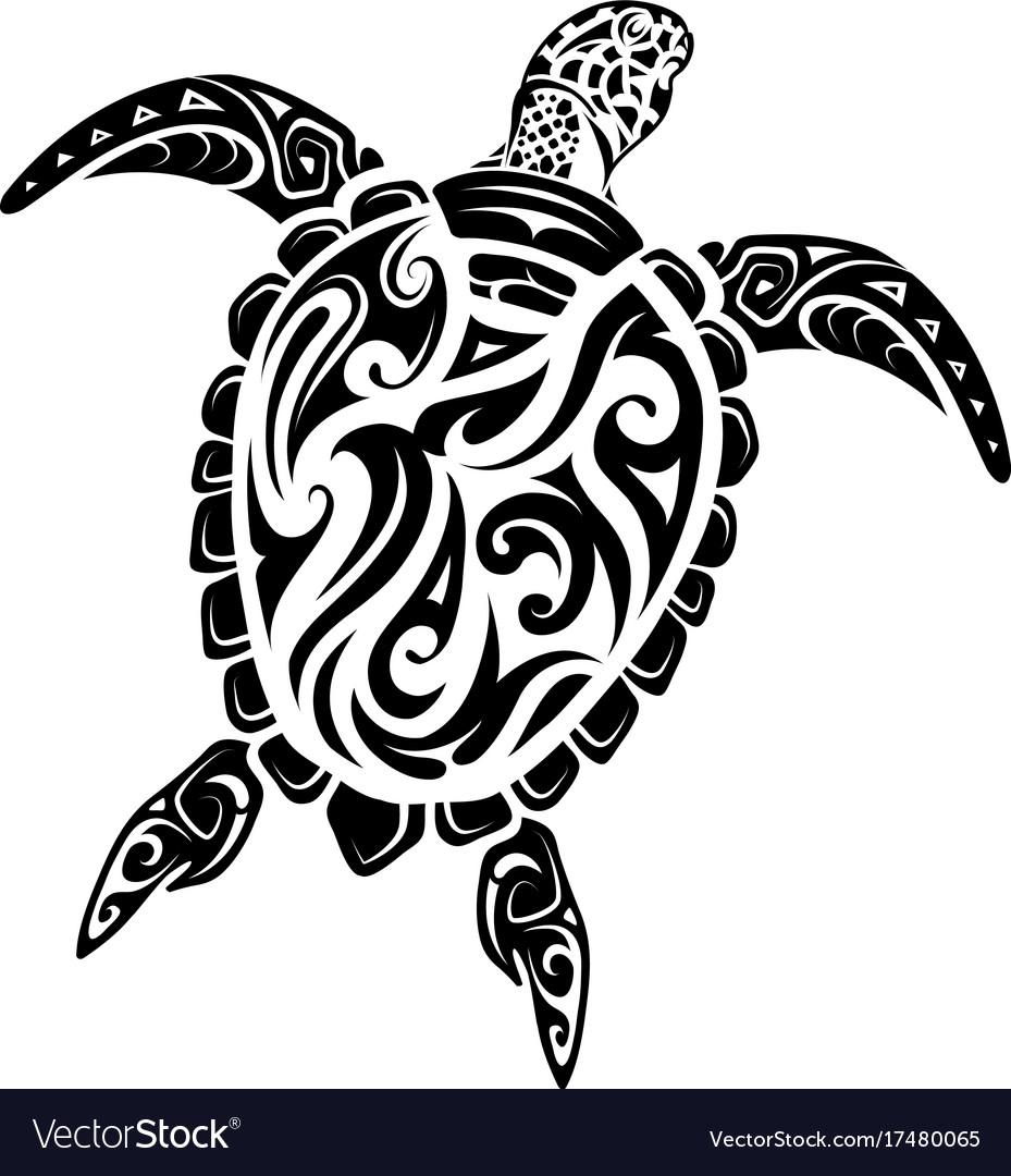 Maori style turtle tattoo vector image