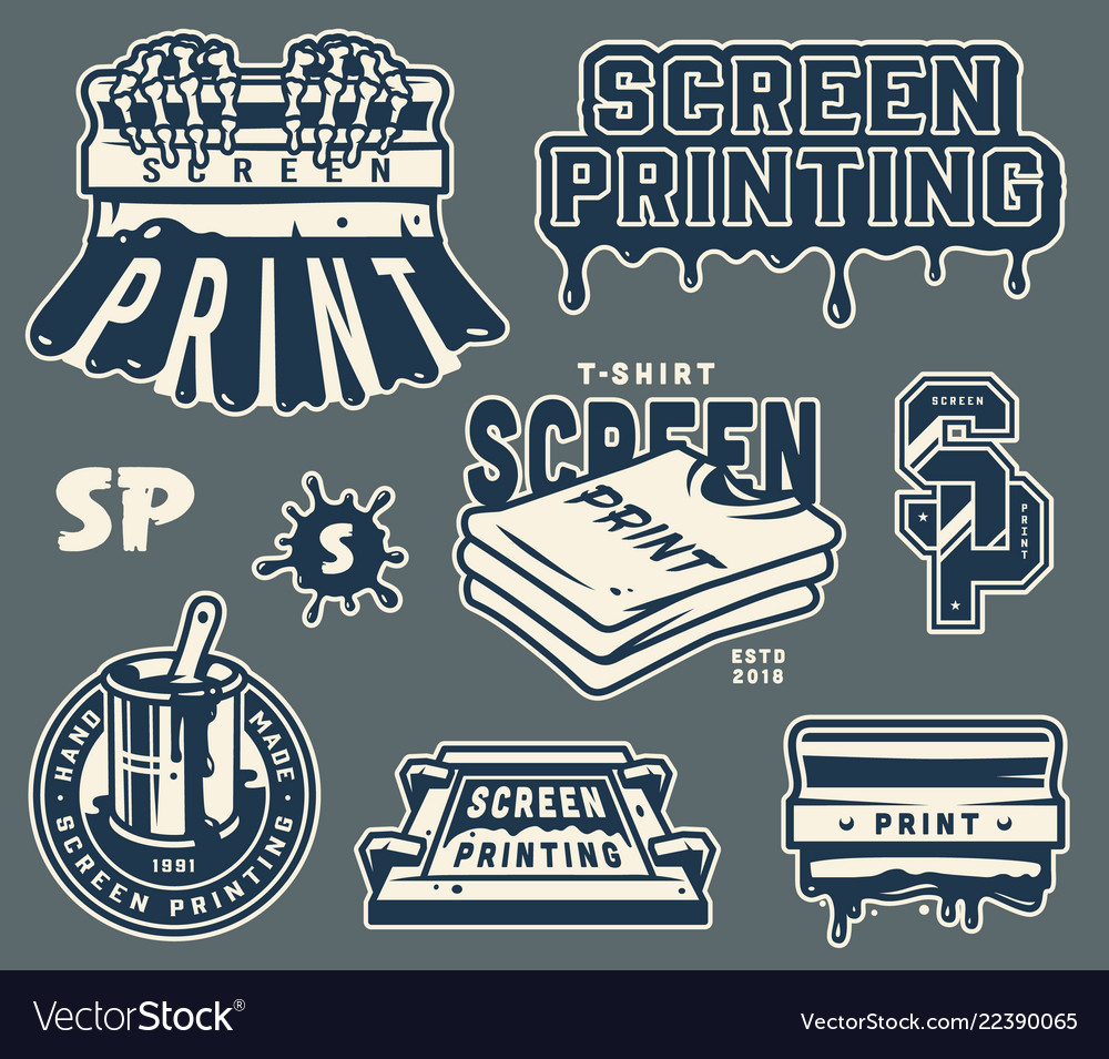 Screen printing elements collection