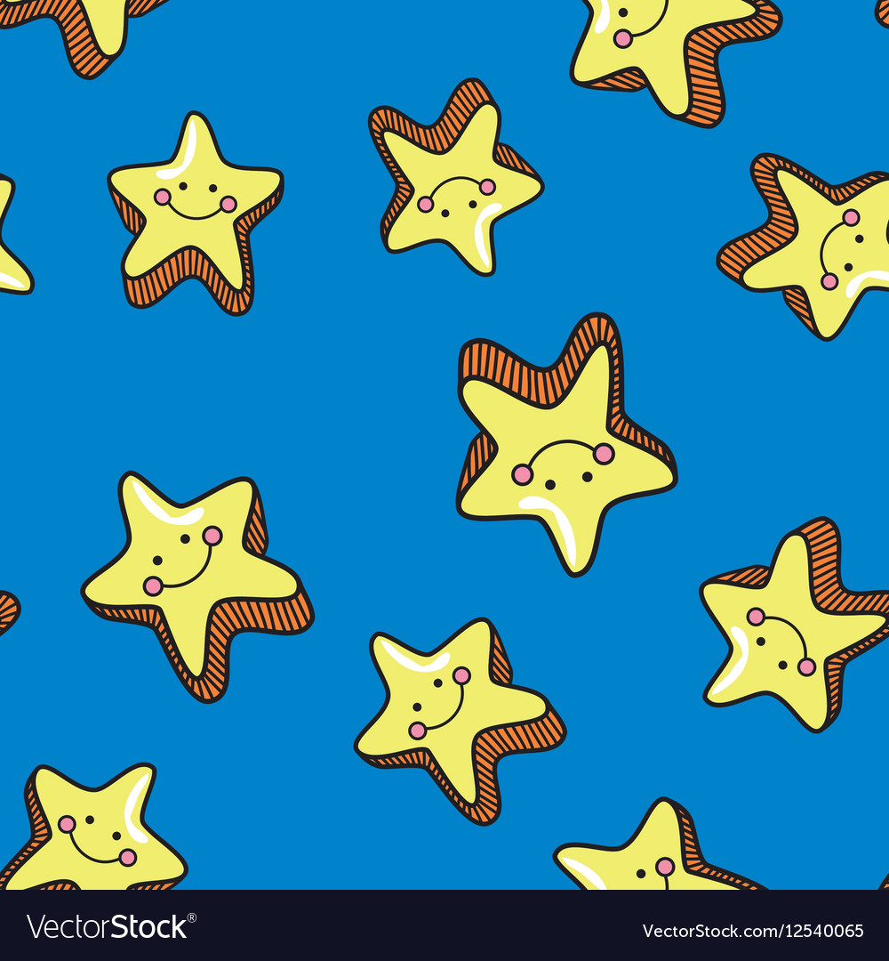 Seamless pattern with cute smiling stars on blue