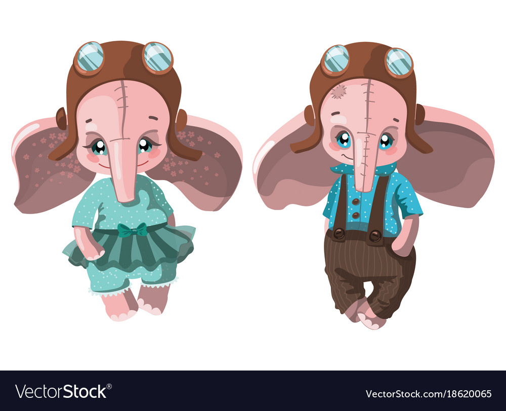 Set of cartoon elephants collection of cute