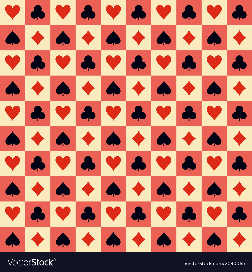 Two playing Cards Suits Seamless Patterns and