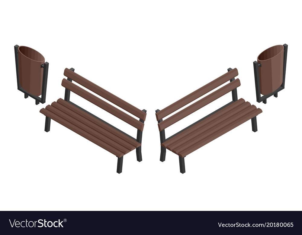 Wooden bench and garbage street urn
